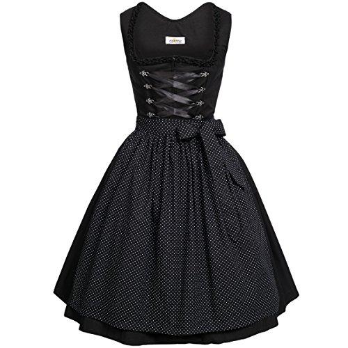 BEST-PRICE Midi Dirndl Amelie in schwarz von Almsach, Größe:42, Farbe:Schwarz