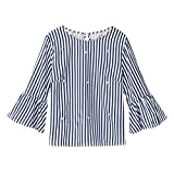 Overdose Casual Damen Langarm Mode Frauen Casual Perlenstickerei Streifen Tops T-Shirt Sicke Top-Sleeve Bluse Sommer Herbst Langarmshirt Freizeit Oberteile(Blau,EU-40/CN-L)