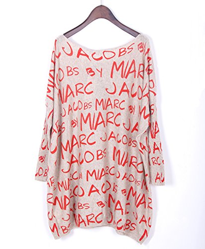 Bigood Pull Col Rond Femme Tricot Sweat-shirt Robe Grande Taille Sweat Manche Chauve-souris Abricot