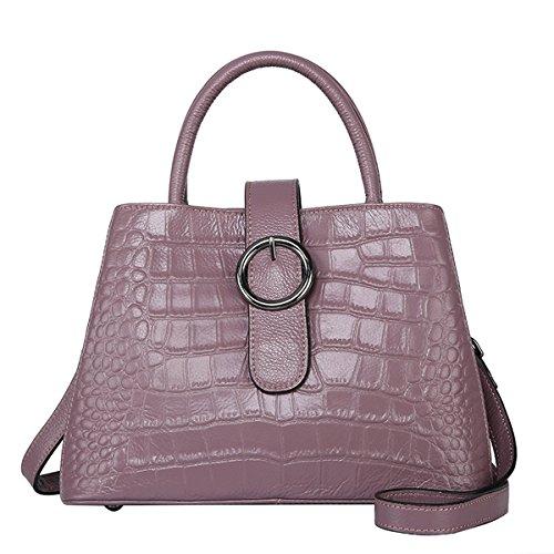 E-Girl Q0845 Damen Leder Handtaschen Satchel Tote Taschen Schultertaschen Violett