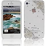 Crystal Bling Rhinestone Transparent Case Cover with Flower for Apple iPhone 4 4S