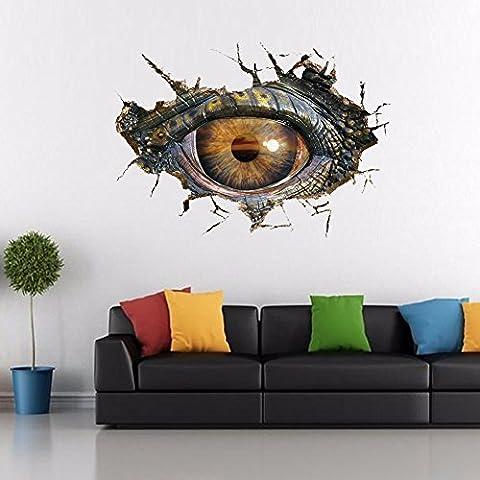 Prueba de agua LLHZUO Dinosaurio creativo ojos 3D pegatinas de vinilo de pared baño salón personalidad decorado Art Vinilos adhesivos de decoración para el hogar