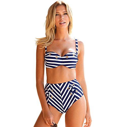 VENCA Zweifarbiger, Gestreifter Bikini mit Hose mit Hohem Bund, Metallringen und Bändern,Marine-Weiss-Gestreift,95B