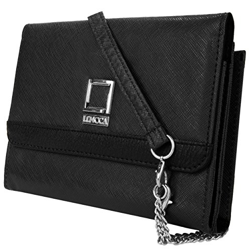 Price comparison product image Lencca Nikina Vegan Leather Crossbody Smartphone Clutch Wallet Purse with Removable Chain Shoulder Strap - Black