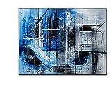 TTKX@@ Handgemalte Ursprüngliche Abstrakte Moderne Kunst Zeitgenössische Malerei Blau Schwarz und Grau Farbe Wand Kunst Dekor Texturierte Große Kunstwerke, 40X60Cm