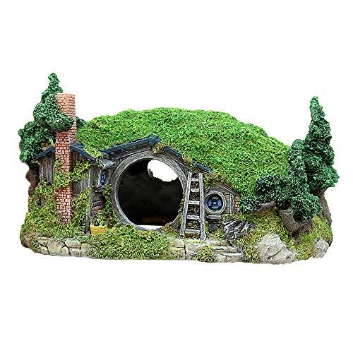 Amakunft Miniatur-Landschaft Hügel Dekoration für Aquarien, Reptilienbox Shelter Ornament, Fairy House Manor Fish Tank Dekoration Bücherregal Tischzubehör