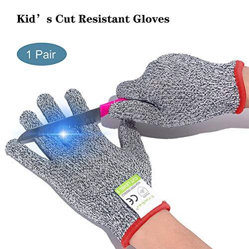 Schnittfest Handschuhe für Kids - Lebensmittelqualität Sicherheit Cut Handschuhe für Mahlzeit Prep Basteln und Außenbereich, EN388 Level 5 Schutz vor Messer Gemüsehobel oder Schäler
