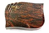 Generic Grabplatte, Grabstein, Grabkissen, Urnengrabstein, Liegegrabstein Modell Eterna 40 x 30 x 7 cm Aruba-Granit, Poliert inkl. Gravur (Bronze-Ornament Taube)