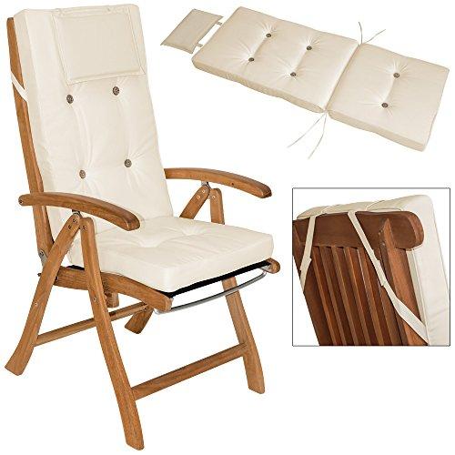 6x Coussins beige pour chaises Haut-dossier Vanamo - 7cm épaisseur