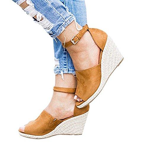 Shelers Damen Keile Schuhe Espadrilles Absätze Knöchel Gurt Fallen Sommer Sandalen (42 EU, Z-Brown) (Gurt Knöchel Leder)