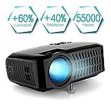 Vidéoprojecteur, Projecteur ABOX A2 3000 Lumens, 1080P Full HD, Taille de L'écran 67-170 Pouces, Compatible HDMI, USB, Carte SD, VGA, AV, Téléphone Portable, Ordinateur Portable