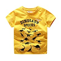 LANSKIRT Kid Girls Boys T-Shirt for 1-7 Years Old, ✿ Children Kids Summer Cartoon Dinosaur Print Blouse Top Cotton Breathable Short Sleeve Pullover Unisex Hipster Lovely Clothes Tee Tops Yellow