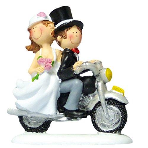 Cake Company Hochzeit-Figur Braut-Paar auf Motorrad | ca. 10 cm aus Polyresin auf Kunststoffsockel | nicht essbare Kuchen-Deko für Hochzeit-Deko | Torten-Figur & Tortenaufsatz für Torten-Deko