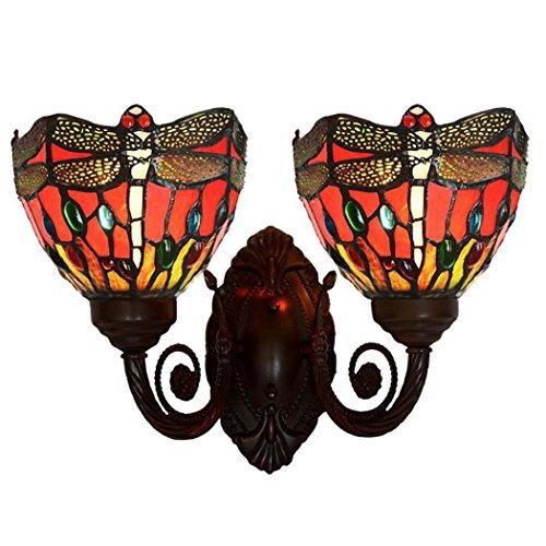 Tiffany Style Wandleuchte, Red Dragonfly Glas Wandleuchte, Wohnzimmer Schlafzimmer Gang Doppelkopf Wandleuchten yd&h -