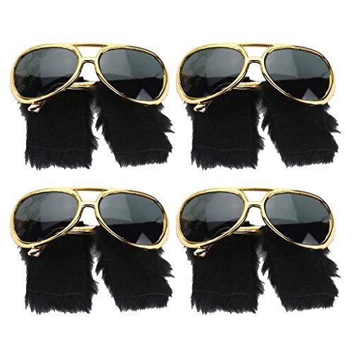 Baoblaze 4X Elvis Presley Occhiali da Sole Divertente Barba Anni '70 Disco Costume Prop