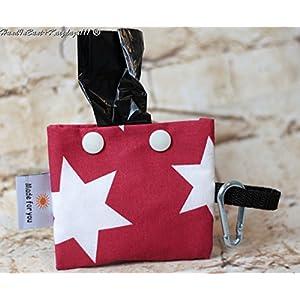 Schicker Kotbeutelspender in Rot mit weißen Sternen