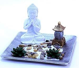 Set giardino zen statuetta di buddha su vassoio con - Accessori giardino zen ...