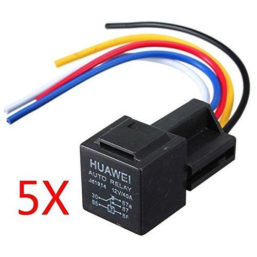 5 X 12V 30/40 Amp Auto 5 Wire Terminal Relay Socket Cablaggio
