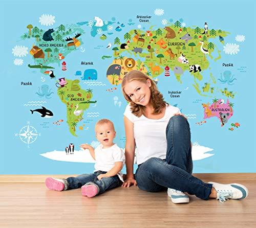 'Kinderweltkarte' mit Tieren (152x104 cm) Vliestapete mit Illustrierter Weltkarte - Kinder-Poster - deutsch - inklusive Kleister & Anleitung - Landkarte fürs Kinderzimmer