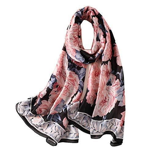 GLEEHASILK Seidenschal Lady Beach Schals Elegante Blumen Hijab Foulard Lady Head Band Wraps Sommer Schals