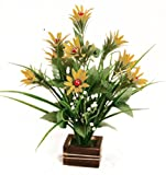 Parishi & W Artificial flower plant arrangement in wooden pot