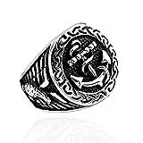 großer Herren Ring Anker Siegelring Seemanns Ring Bikerring Edelstahl Anchor Silber 57 - Ø 18,14 mm