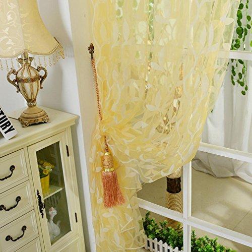 HKFV Blatt-bloße Vorhang-Tüll-Fensterbehandlungs-Voile drapieren Volant 1 Platten-Gewebe Beflockte Vorhänge 100 x 200cm curtain (Gelb) Vorhänge Gelb Volant