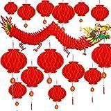Bememo 21 Pièces Dragon Chinois Nouvel an Lanternes Rouge Chinois Décoration pour Printemps Festival Nouvel an Mariage