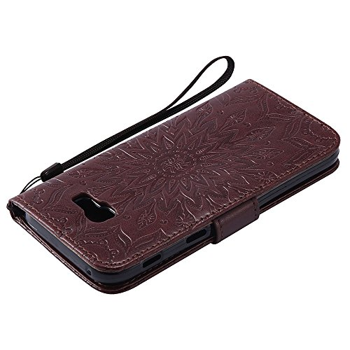 Für Samsung Galaxy A5 2017 Fall, Prägen Sonnenblume Magnetic Pattern Premium Soft PU Leder Brieftasche Stand Case Cover mit Lanyard & Halter & Card Slots ( Color : Red ) Brown