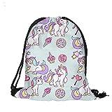beiguoxia Mujer Niña dibujos animados Unicorn deporte gimnasio bolsa cordón mochila de viaje bolsa de almacenamiento, 2#