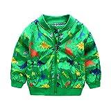 Kangrunmy Enfants Bebe Garocn Fille Dinosaures Impression Fermeture Manteau Automne Hiver Coat Tops Sweatshirt Veste Sweat Shirt Pour 2-6 Ans (B, 2 ans)