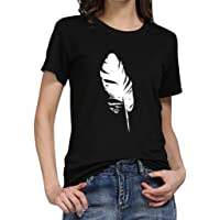 VEMOW Women's O-Neck Loose Fit Short Sleeve T-Shirt Casual Leaf Print Ladies Pullover Tees Tops for Outdoor Summer