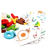 Bee Smart — Alphabet ABC Puzzles with Wooden Letter, Alphabet Animal Match Puzzle Flash cards