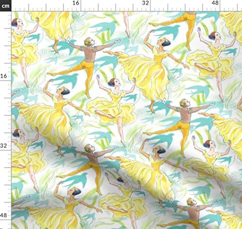 Ballett, Ballerina, Tanzen, Gelb Und Weiß, Tutu, Gelb Und Blau Stoffe - Individuell Bedruckt von Spoonflower - Design von Vinpauld Gedruckt auf Satin -