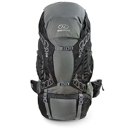 """HIGHLANDER 65 Liter Discovery Rucksack Leichter Wanderrucksack mit wasserdichter Hülle - Ideal zum Wandern, Reisen, Trekking, Camping und \""""D of E\"""" - Schwarz"""
