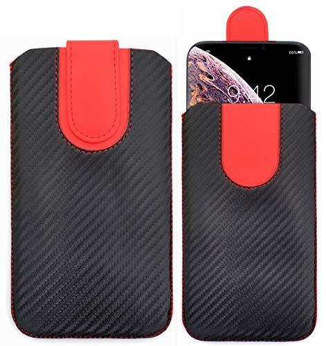 Sweet Tech Schutz-Tasche [KOHLENSCHWARZ] für TP-LINK Neffos C5A / TP-LINK Neffos C7A / TP-LINK Neffos Y5s - Pu Leder Schutzhülle herausziehbar genaeht mit Rausziehband und magnetischen Schneller