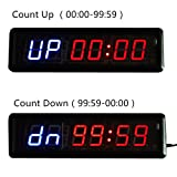 HIIT Crossfit Fitness Intervall Training Timer Best for Gym/Boxing/Running/Kettlebells Cardio and Tabatha Workouts/W Remote Larger LED Digital Wall Clock Modern Design Home Decor