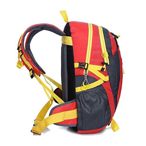40L Wasserfeste Sporttasche, Trekkingsack für Reisen, Wandern, Trekking, Bergsteigen, Klettern, Radfahren, Camping Rot