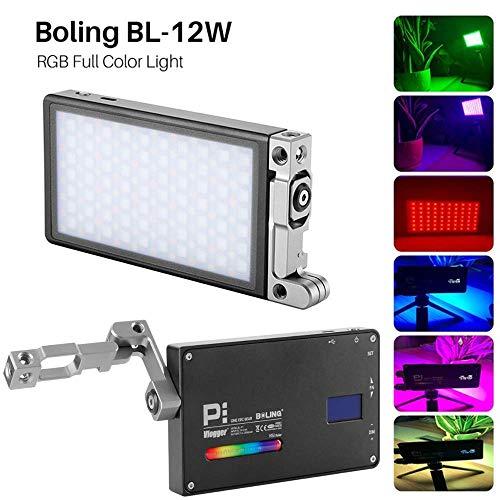 Boling BL-P1 12W RGB Build-in Battery Led On Kamera Licht Pocket Size Bi-Color 2500K-8500K 0-360°Full Color & Color Saturation Adjustment Led Foto Licht Aluminum Light Body MEHRWEG 360 Panel