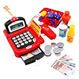 Cash Register Till Toys Kids with Scanner Electronic Calculator Play Money Pretend Role