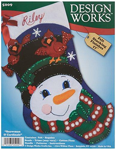 Snowman & Cardinals Stocking Felt Applique Kit-17