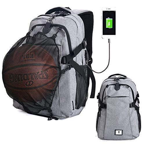 AUVSTAR Basketball Rucksack, Fußball Rucksack, Computer Rucksack Business Laptop Rucksack mit USB Port, Kopfhörer Tasche und Ball Halter mit Basketball Netz für Frauen/Männer (Grau)