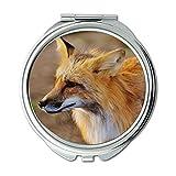 Yanteng Spiegel, Schminkspiegel, Tier Nahaufnahme Fuchs, Taschenspiegel, tragbarer Spiegel