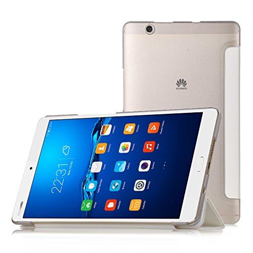 Huawei MediaPad M3 8.4 Hülle, IVSO Ultra Schlank Superleicht Ständer Slim Leder zubehör Schutzhülle für Huawei MediaPad M3 8.4 Tablet-PC perfekt geeignet,Weiß