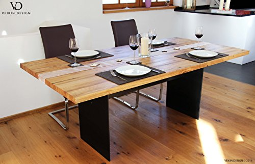 """Esstisch """"Manhattan Black"""" Kernbuche massiv 160 x 90 cm, Designer Tisch Massivholz mit Rohstahl Tischgestell, Holztisch Metall Stahl, Premium Esstisch, Design Esstisch Exklusiv!"""