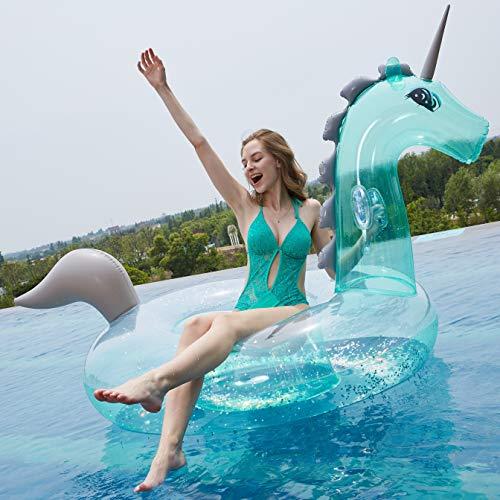 Myir Riesige Aufblasbare Pailletten Transparente Einhorn, Luftmatratzen Wasser Pool Floß Schwimmen Schwebebett Aufblasbarer Spielzeug Schwimmtier für Kinder Erwachsene (Transparente Einhorn)