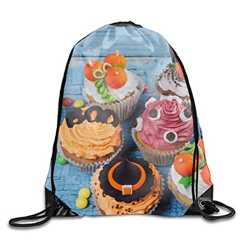 loween Cupcake Portable Pulling knapsack Breathable Backpack Sport Gym Sack Drawstring Backpack Bag Holiday Halloween Cupcake8 Lightweight Unique 17x14 IN ()