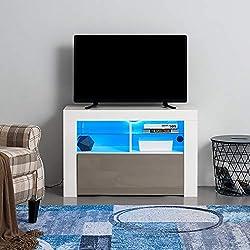 Anaelle Panana Meuble TV LED en MDF avec 5 Compartiments de Stockage sur Salle de Séjour, Salon et Chambre à Coucher etc, Taile: 100 x 35 x 65 cm, Poids: 26 kg (Gris)