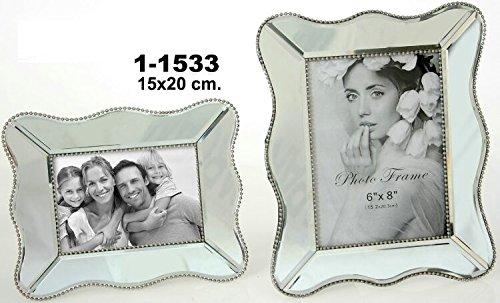 DonRegaloWeb-Portafotos decorato con specchi a forma di onde di 15x 20cm
