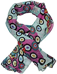 Cina Circle Floral Print Colorful Ladies Bright Womens Scarf Shawl Celebrity Scarf SWANKYSWANS
